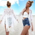 New Fashion Sexy Kimono Cardigan Women Hollow Lace Loose Tops White Black Casual Long Sleeve Tassel 2017 Hot Blouse