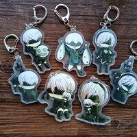 7 cái Anime Keychain Portachiav NieR Máy Tự Động Heroine 2B YoRHa Số 2 Loại B Commander Doubleside Keyring Keychain Dễ Thương Pendant