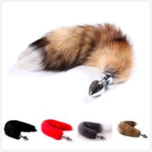Anime Cosplay Soft Fox Tail with Stainless Steel Metal Butt Plug Fetish Fantasy Couple Life Flirting Anal Plug Animal Faux Tail(China)