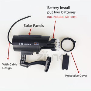 Image 3 - Solar Fake Camera 4pcs Bullet Security Outdoor CCTV Dummy Camera Waterproof Surveillance Flashing Red LED Free Shipping Black