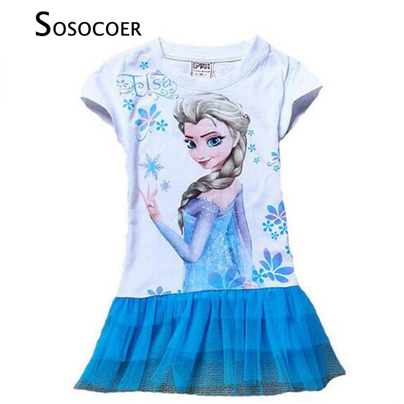 SOSOCOER Toddler Girl Princess Dress Summer Style Elsa Anna Kids Party Dress Cartoon Princess Lace Dress For Baby Girls Clothes ems dhl free shipping toddler little girl s 2017 princess ruffles layers sleeveless lace dress summer style suspender
