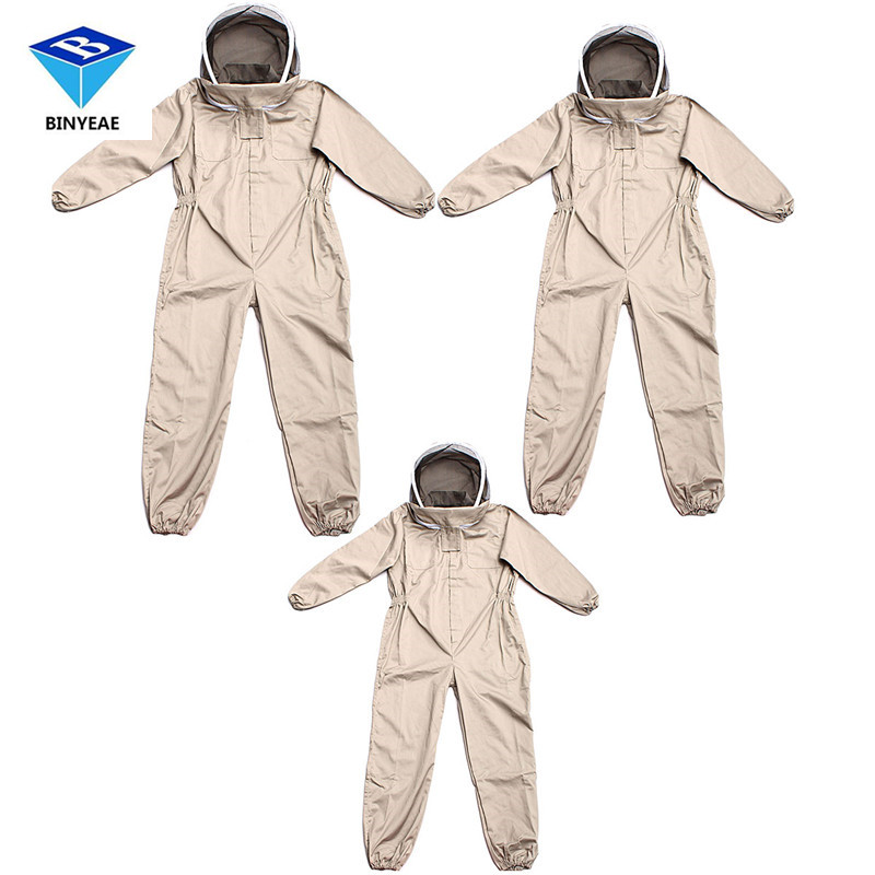 Unisex Details About Cotton Beekeeper Bee Suit Smock + Beekeeping Protective Goatskin Gloves Gray+white Safely Clothes S M L bee proof suits beekeeper j shape j type hive tool j hook beekeeping equipment newest