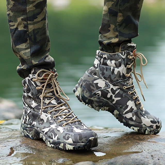 Men Military Tactical Boots Spring Waterproof Canvas Camo Camping Trekking Boot Man Climbing Outdoor Hiking Shoes