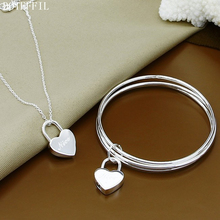Hot Sale 925 Sterling Silver Heart Lock Pendant Bracelet Necklace Classic Luxury Jewelry Necklace Bracelet For Women classic heart pendant