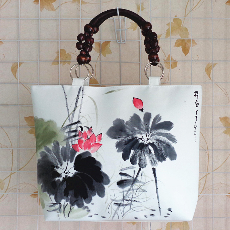 Chinese Ethnic Retro Style Canvas Rucksack Shoulder Bag Hand Painted Ink Painting LOTUS Handbag