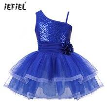 IEFiEL/балетное платье-пачка с одним плечом для девочек гимнастическое трико для девочек, танцевальный костюм балерины с блестками танцевальное платье