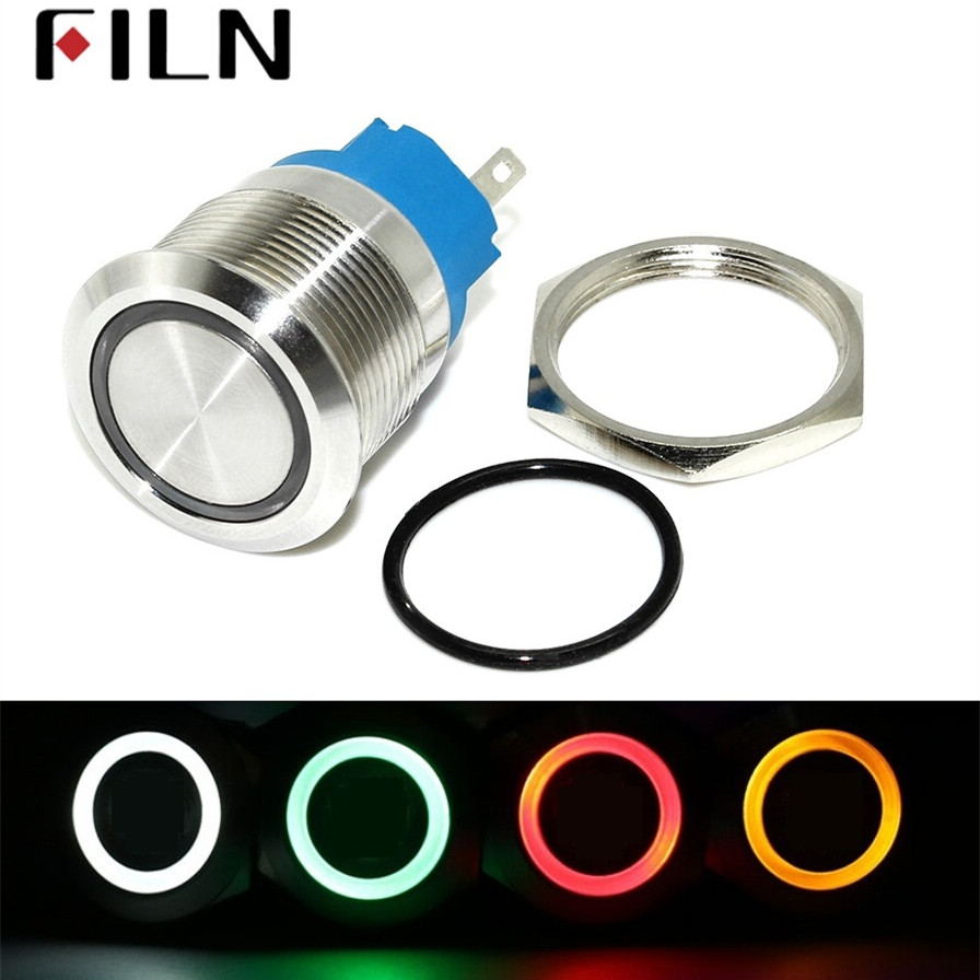 22mm Waterproof Latching Reset Fixation Stainless Steel Metal Lamp LED Light Power Push Button Switch 5V 12V 24V 220V Red Blue 1 x 16mm od led ring illuminated latching push button switch 2no 2nc