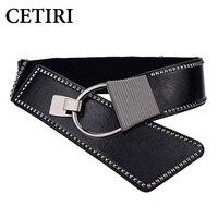 CETIRI Waist Belt Women S Leather Fashion Wide Elastic Waistband With Punk Rivets Studs Designer Belts