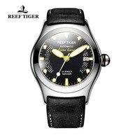 Риф Тигр/RT спортивные часы для мужчин сталь большой Скелет циферблат часы автоматический часы кожаный ремешок RGA704