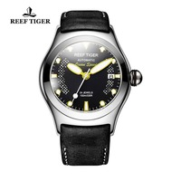 Reef Tiger/RT Sport Watches for Men Steel Big Skeleton Dial Watches Automatic Watches Leather Strap RGA704