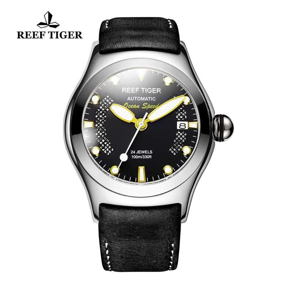 שונית טייגר/RT ספורט שעונים לגברים פלדת גדול שלד חיוג שעונים אוטומטי שעונים עור רצועת RGA704
