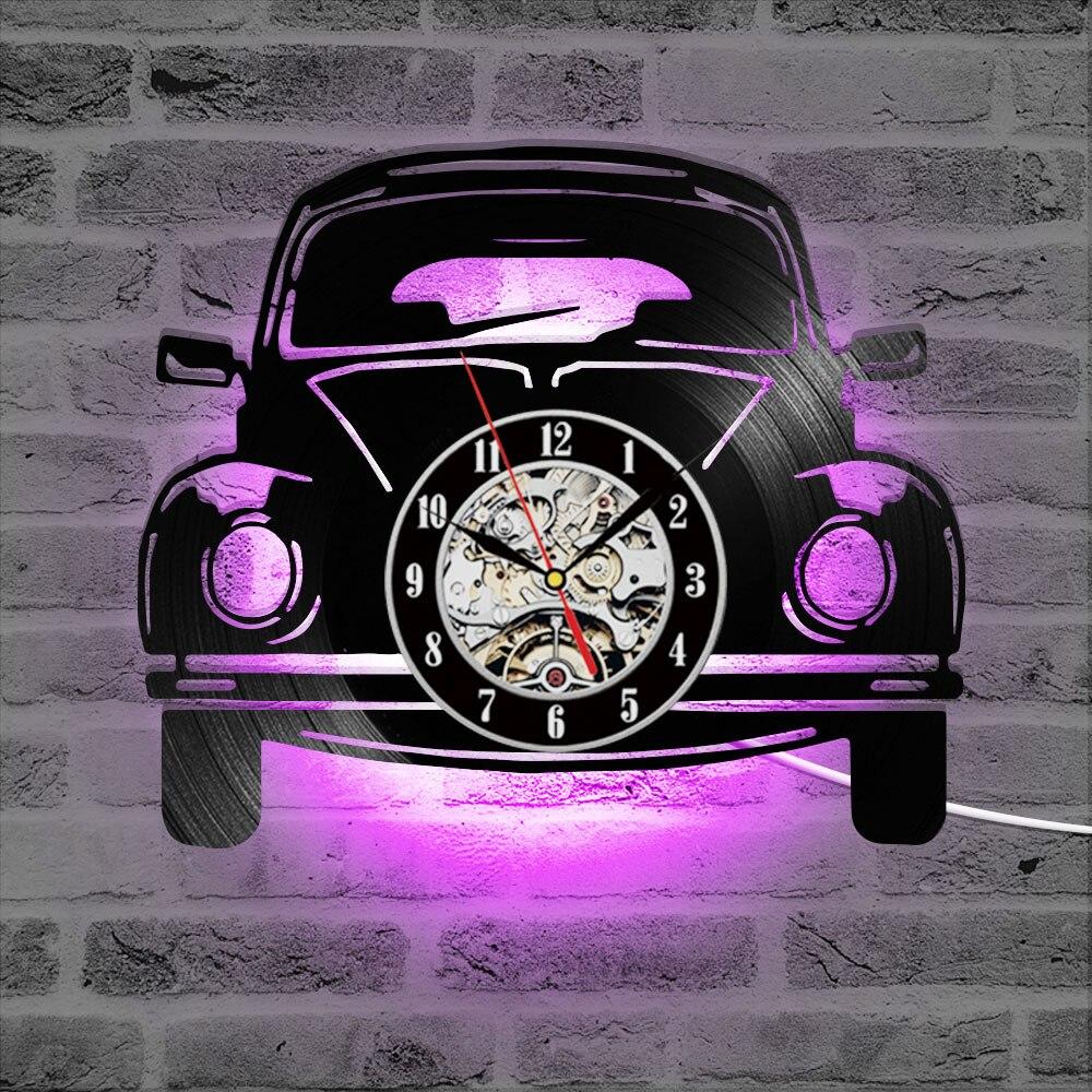 Logotipo de coche vinilo registro Reloj de pared hueco negro silencio creativo LED Reloj de pared decoración para el hogar clásico colgante de pared reloj 7 colores