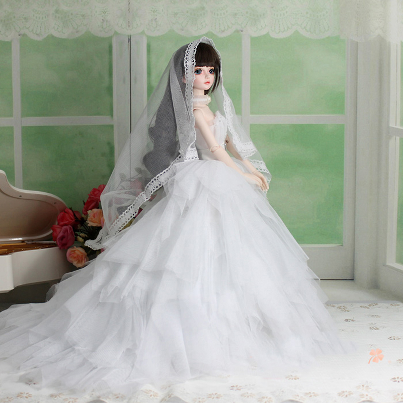 Wedding Dress Evening Dress Doll Accessories 1/3 1/4 BJD Doll Clothes Clothing Princess SD MSD BJD Clothes Toys For Girls 2