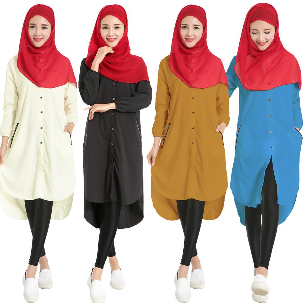 Muslim Women Top Shirt Dresses Long Sleeve Islamic Abaya Jilbab Turkish Amira Clothing Chiffon Shirts Dress
