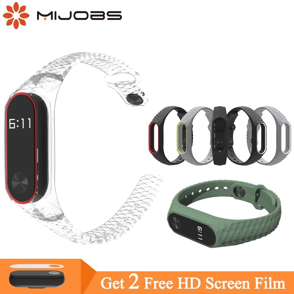 Mijobs For Xiaomi Mi Band 2 Strap Aurora Miband 2 Strap Bracelet For Xiaomi Mi Band 2 Wristband Silicone Smart Bracelet Wrist