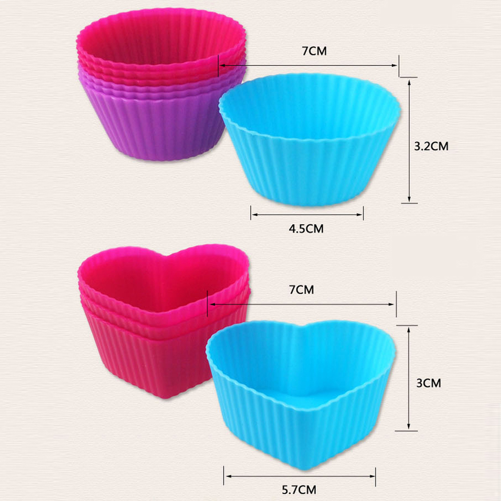 US $46 0 |80pcs Heart / Round Reuse Cake cup Mold Silicone Shape Cake  Baking Mould Pudding Cartoon Cups Liner Wrapper Multi Colors-in Cake Molds  from
