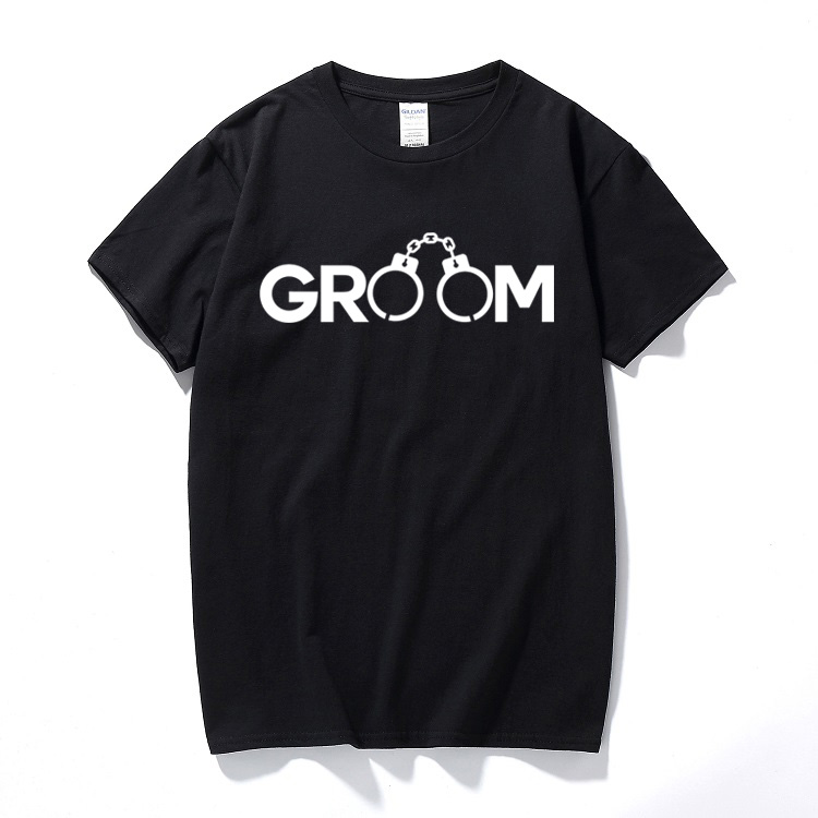 Groom handcuffs funny printed t shirt tee top mens stag do husband wedding joke tee shirt homme Cotton short sleeve t-shirt