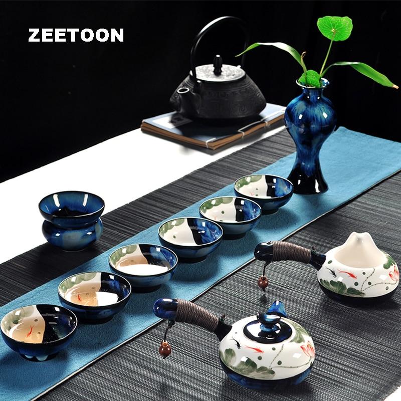 11 pz Cinese Kung Fu Tea Set Tazza Da Tè In Ceramica Teiera Fair tazza Tazza Vaso di Porcellana Dipinta A Mano di loto Teaware kit Casa d'epoca Decor
