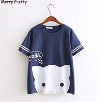Harajuku Summer Printed Kawaii Cat Cotton T Shirt Women Lovely Letter Cartoon Shirt Good Quality Comfortable