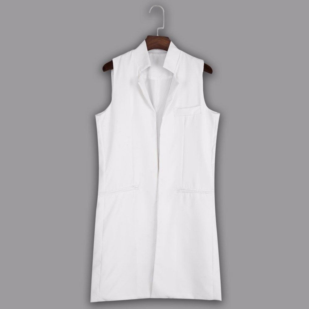 VESTLINDA Long Vest Back Split Outwear Waistcoats Women White Black Jacket Coat Sleeveless Cardigan Pocket Blazer Vest Femme Top 12