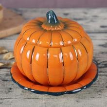 1 шт. 6 дюймов Изысканная красивая керамическая тыквенная Мультиварка десертное гнездо чаша крышка печи