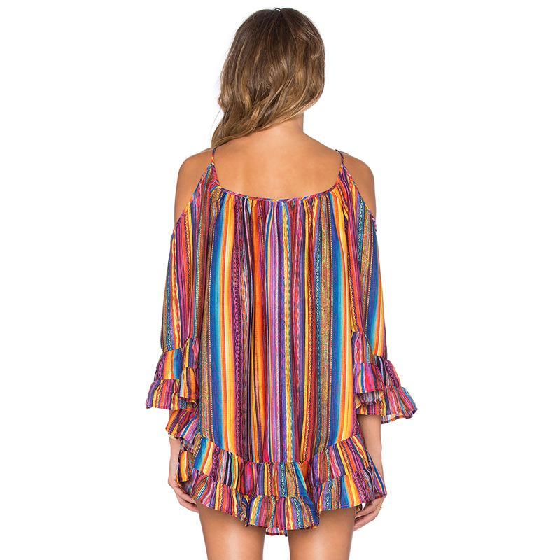 2017 новая мода женщины лето платье радуга полосатый печати сексуальная с плеча пляж платье свободные спагетти ремень шифон платье