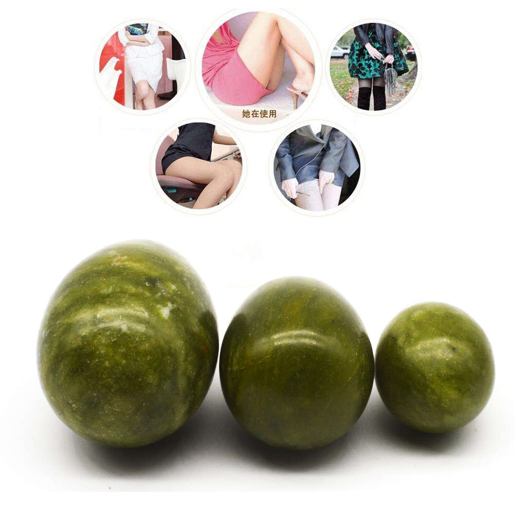 3pcs /set Natural Green Stone Drilled Jade Eggs Yoni Egg For Women Kegel Exercise Tightening Vaginal Balls Muscle Massage  A378