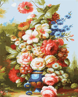 HQ Frameless Picture Vintage Flower DIY Painting By Numbers Europe Hand Painted Oil Painting On Canvas