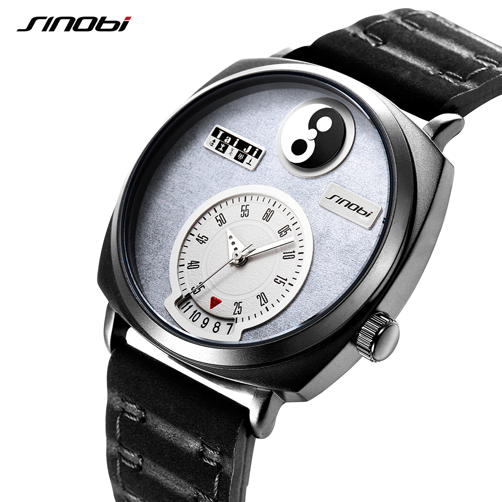 Sinobi Men Watch Creative Tai Chi Working Unique Date Dial Display Chinese Culture Yin Yang Elements Concept Trending Watches цена
