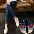 New Maternity Jeans Clothes High Quality Cotton Trousers for Pregnant Women Red Lips Denim Pregnancy Jeans Pants Plus Size B45