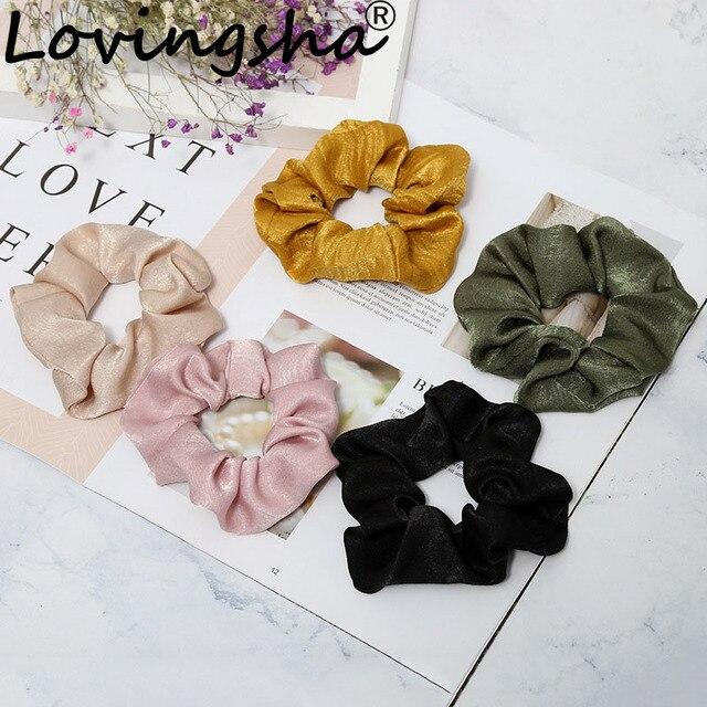 LOVINGSHA Women Hair Accessories Brand Solid Girl Hair Tie Lady Scrunchies Female Ladies Ponytail Hair Holder Rope NFD039