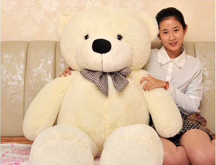 stuffed animal 140 cm teddy bear plush toy soft bear doll white colour gift w2918 stuffed animal largest 200cm light brown teddy bear plush toy soft doll throw pillow gift w1676