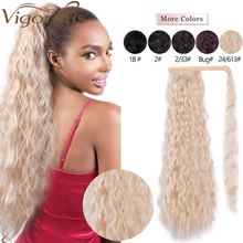 Vigorous Long Afro Curly Ponytail Synthetic Hairpiece Wrap on Clip Hair Extensions Pony Tail Hair Piece fo Women 22 Inch 100g