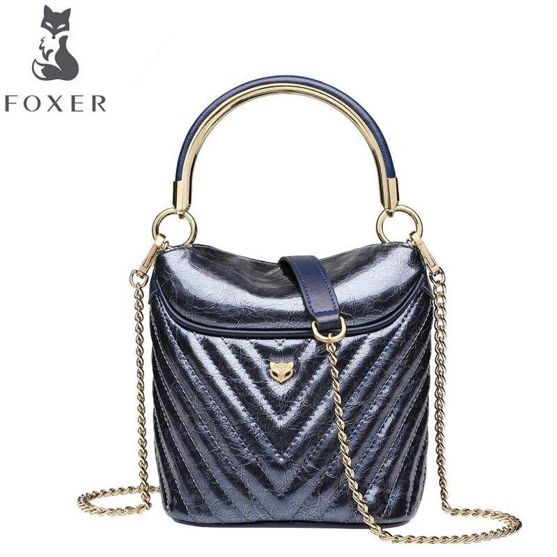 FOXER sac pour femmes 2019 nouvelles femmes mode cuir sacs à main femmes luxe designer chaîne seau sac femmes en cuir sacs à bandoulière