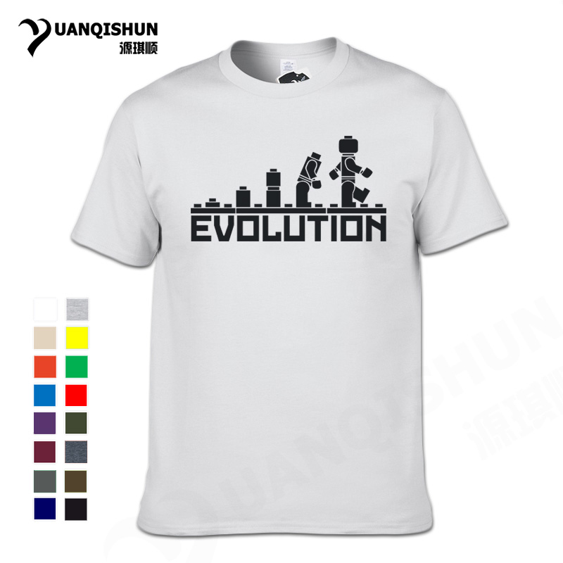 LEGO Robot EVOLUTION T Shirts Top Quality Men Cotton Short Sleeve Funny Printed Sheldon Cooper Men's T-Shirt Fashion Male Tees
