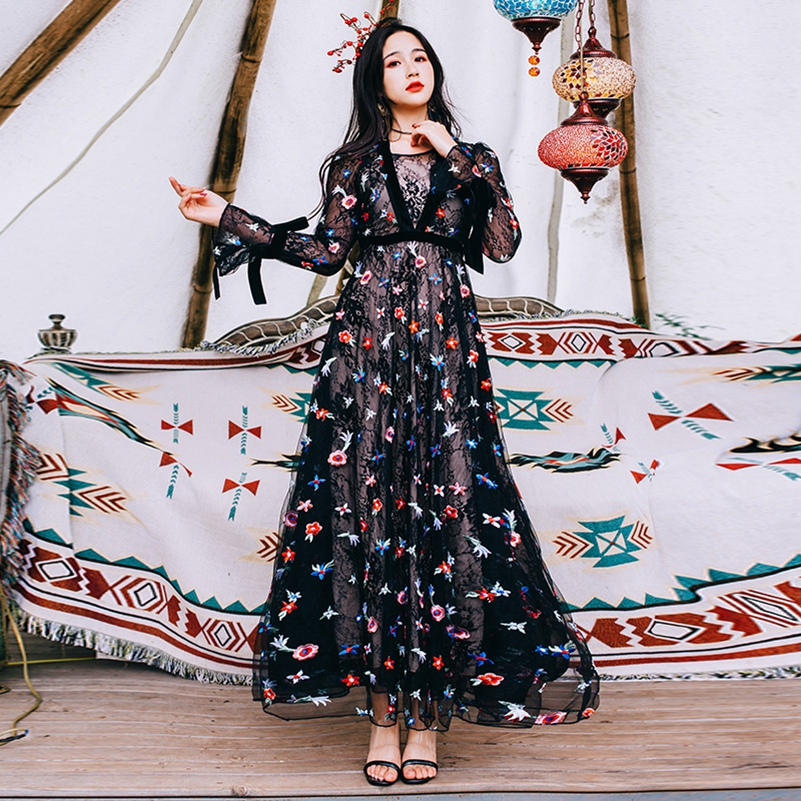 SexeMara mode De Nieuwe V hals borduren Mesh Bell mouwen jurk gratis verzending-in Jurken van Dames Kleding op AliExpress - 11.11_Dubbel 11Vrijgezellendag 1