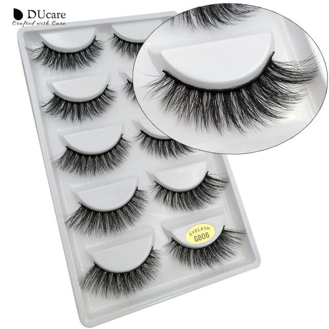 DUcare de pestañas falsas 5 pares pestañas falsas 3D visón pestañas extensión Natural de maquillaje profesional belleza esencial