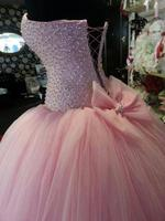 New Arrival 2017 Luxury Pink Beaded Sweet Prom Formal Quinceanera Ball Gown Lace Up Evening Tulle Dresses