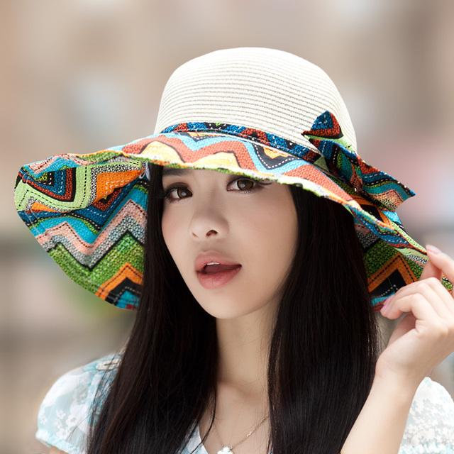 Impresión sombreros de ala grande strawhat protector solar sunbonnet del verano anti-ultravioleta del sol sombrero casquillo de la playa casquillo del recorrido al aire libre