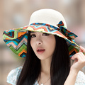 Summer sunbonnet millinery large brim print strawhat sunscreen anti-uv sun hat beach cap outdoor travel cap