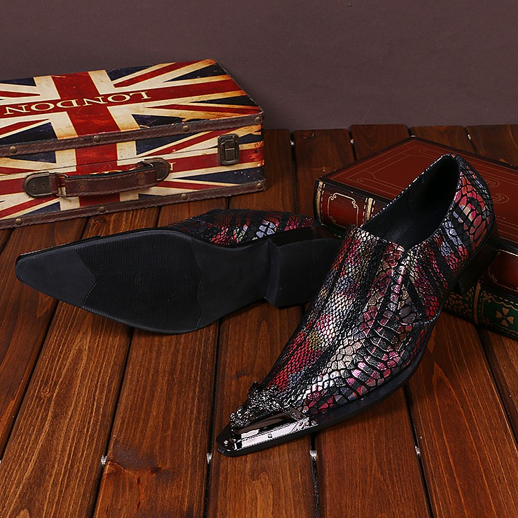 CH.KWOK Shiny Mixed Color Men Genuine Leather Shoes Metallic Pointed Toe Italian Mens Dress Shoes Bling Wedding Oxfords Mujers choudory new winter men ankle italian shoes men leather shoes pointed toe mens black dress shoes sequined toe spiked loafers men