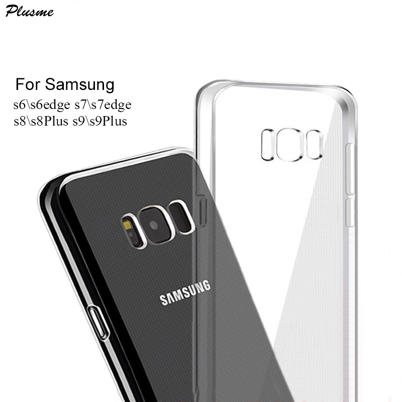 For Samsung S10 S8 S9 Plus Case Full Cover Transparent Silicone Soft TPU Case For Samsung Note 9 8 S6 S7 Edge S10 Plus Back Case in Fitted Cases from Cellphones Telecommunications