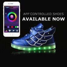 APP управления высокие СВЕТОДИОДНЫЕ Обувь Свет Вспышки Светящиеся Обувь мужская Обувь Высокие Верхние Дети 11 Цвет USB Chagring 2017 новый