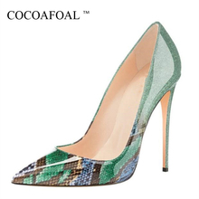 6f514feaa0000 COCOAFOAL nowy Snakeskin wysokie buty damskie damskie szpilki buty ze skóry  lakierowanej ślubne moda Sexy pompka