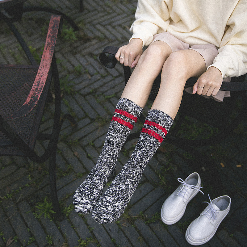 New womens double striped thick casual men and women cotton socks high quality clothing with Harajuku fun socks clothing dress
