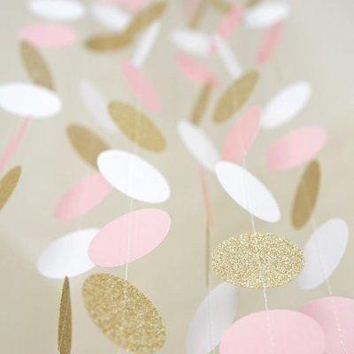 (aukso kampelis, rožinė, balta) 11 Kojų ratas Garlandas Polka - Šventės ir vakarėliai - Nuotrauka 3