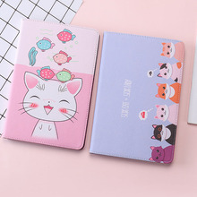 For iPad Mini 3 2 1 Case Cartoon Cute cat PU Silicone Soft Back Tablet Cover For Apple iPad Mini 1 2 3 Flip smart stand Case 3d cartoon hello kitty soft silicone back cover case for apple ipad mini 1 2 3 7 9 tablet cases for kids gift