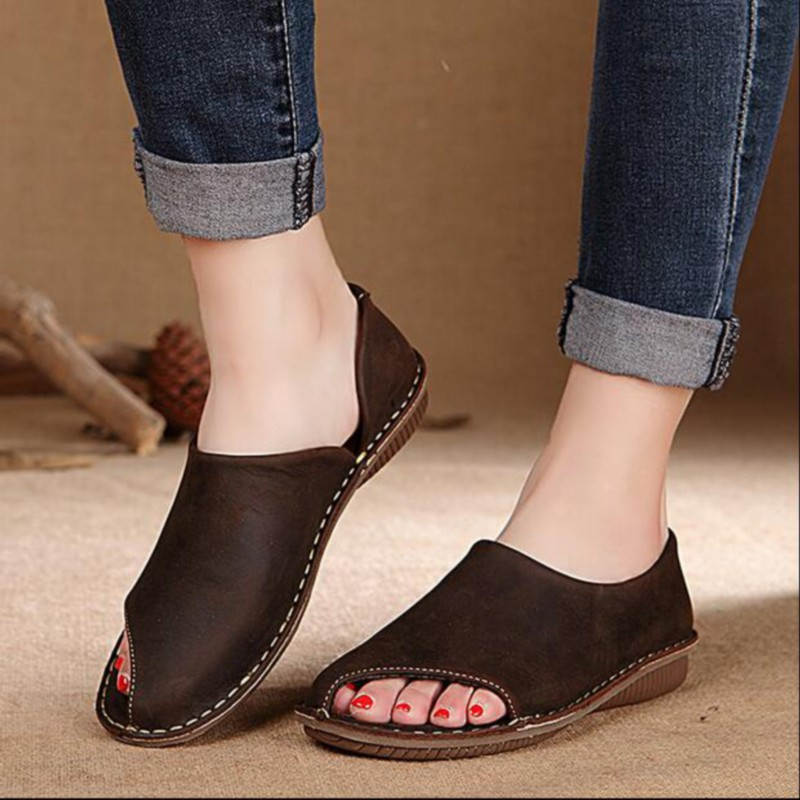Asymmetrical 2016 handmade sewing women s shoes vintage genuine leather shoes fluid women flats F071A