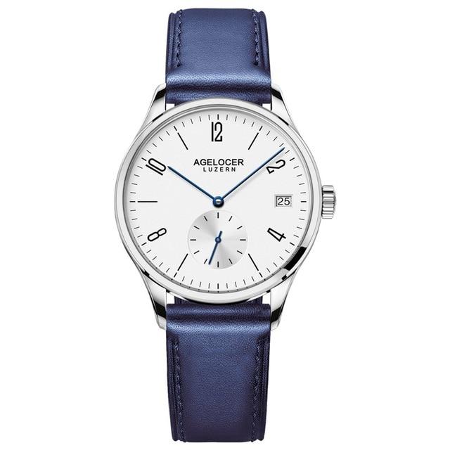 Original Brand Agelcoer Automatic Mechanical Watch Waterproof Stainless Steel Watch Genuine Leather Watch 1201A6