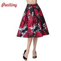 Peritiny Europe And America Style 2017 Fashion Jupe High Waist Saia Midi Vintage Skirts Floral Printed